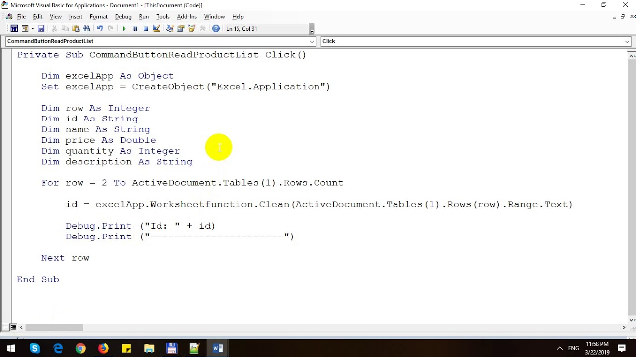 Read Rows in Table with Word VBA - YouTube