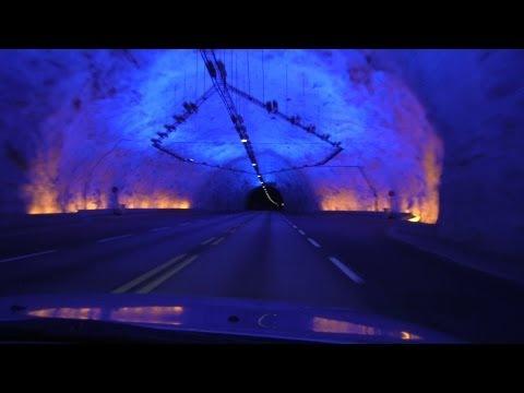 World's longest road tunnel (24.5 km/15.2 mi), Lærdalstunnelen in Norway