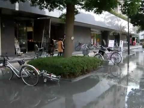 Japan Quake 2011 *** LIQUEFACTION - FLOOD WATER RISING UP IN CRACKS