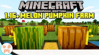 EASY PUMPKIN / MEĻON FARM TUTORIAL! | Minecraft Bedrock 1.16+