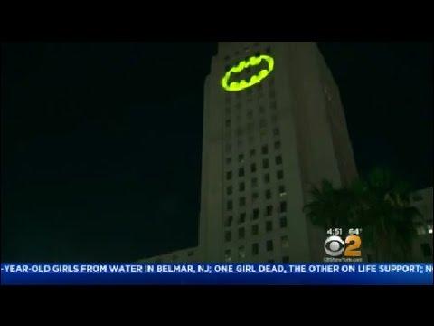 """""""Bat Signal"""" Tribute To Late Batman Star Adam West"""