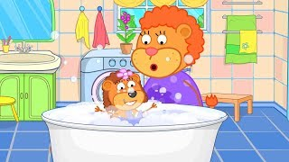 Lion Family Mom Washes Baby in the Bathroom Cartoon for Kids YouTube
