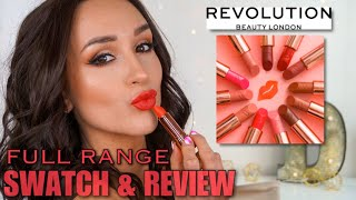 *NEW* MAKEUP REVOLUTION Satin Kiss Lipstick ???? FULL RANGE SWATCH & REVIEW | Hannah Dorman