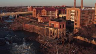 Aerial proposal of Nathan and Rachel in uptown Columbus, Georgia