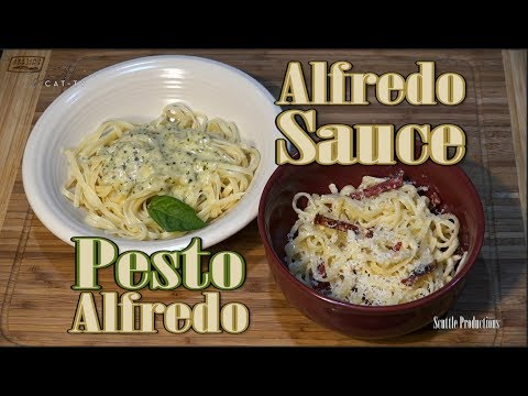 How to Make Alfredo Sauce (Olive Garden) and Pesto Alfredo Pasta