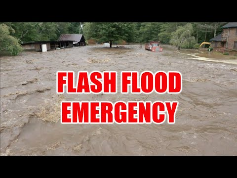 POWERFUL flash flood from Tropical Depression Fred captured by drone in Balsam Grove, North Carolina