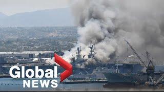 17 sailors, 4 civilians injured in fire on Navy ship USS Bonhomme Richard