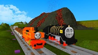 Thomas and Friends Hiro toy trains and volcano on Roblox Train Games for kids