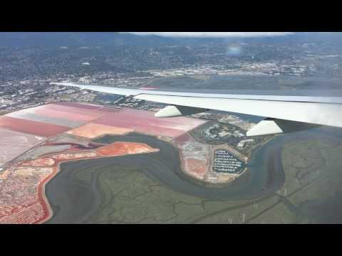 All Nippon Airways Boeing 777-300ER Scenic Landing and Taxi to Gate at San Francisco