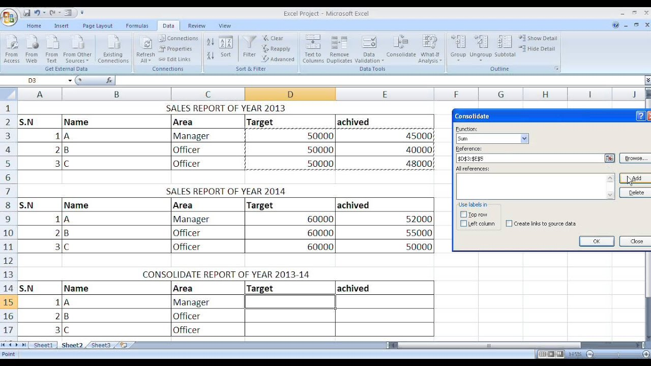 Consolidate Report In Microsoft Excel In Hindi Urdu