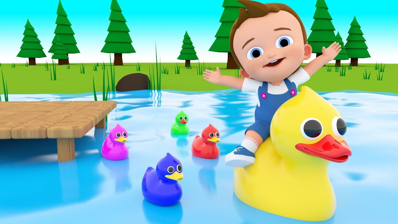 Five Little Ducks Nursery Rhyme - Learn Colors with Baby 3D Duck ...