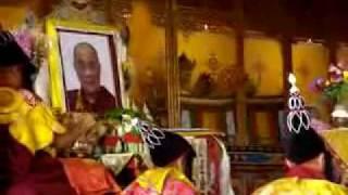 Buddhist monks doing throat singing (overtones) at Kopan Monastery in Kathmandu
