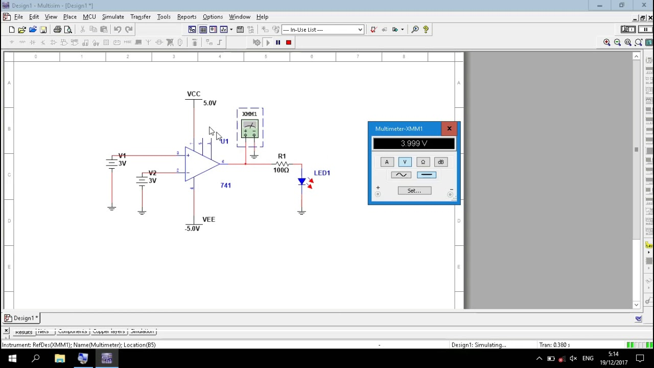 Op Amp Comparator Circuit Simulation In Multisim Youtube Circuits