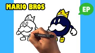 How to Draw Suṗer Mario Bros 64 - King Bob omb