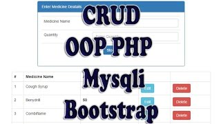 CRUD 1 : Create Read Update Delete using OOP PHP Mysqli and Bootstrap
