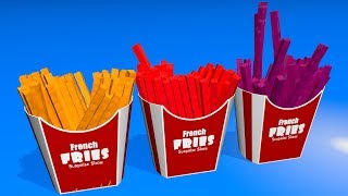 Toddlers learn colors. Learning videos for kids with 3D сolor French Fries.