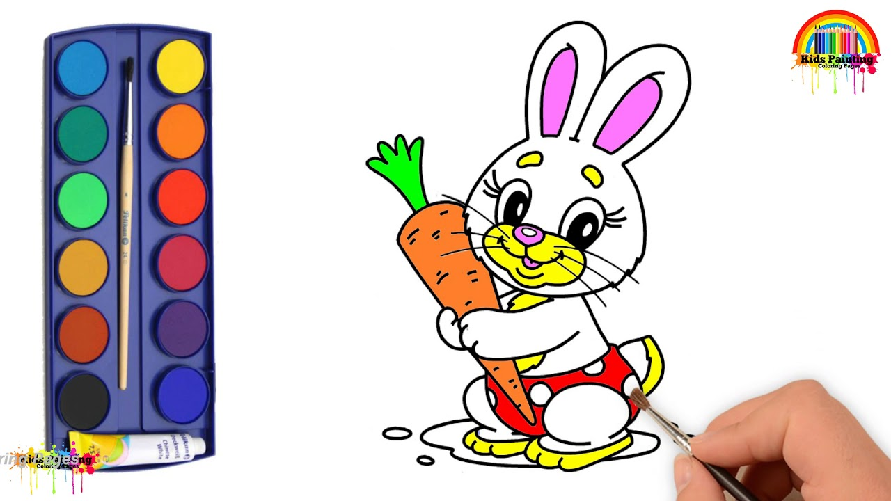 Rabbit Holding Carrot Coloring Pages