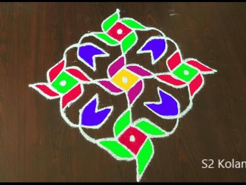 Chukkala Muggulu With 13 To 1 Straight Dots Easy Rangoli Design