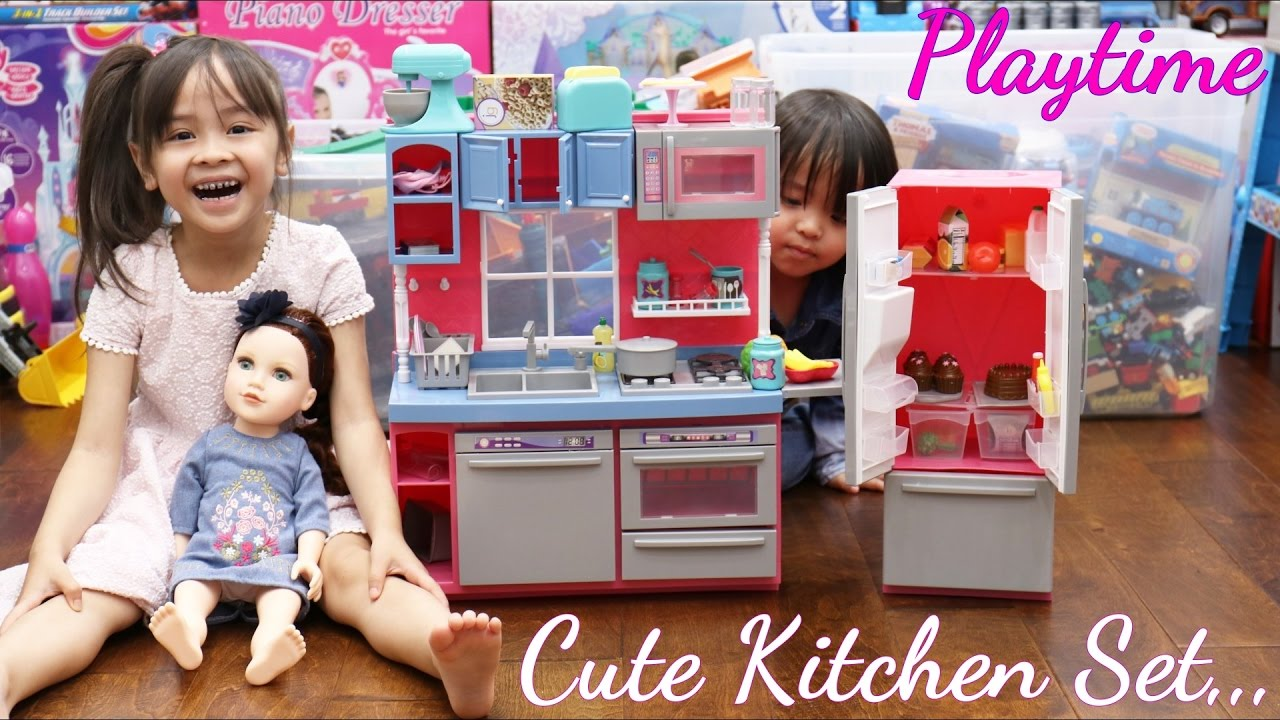 Toy Doll Review: Cooking Playset For Little Girls. Journey Girls Gourmet  Kitchen Playset Unboxing