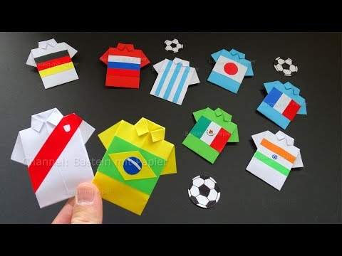 Origami Fussball Trikot basteln mit Papier. Hemd / Shirt falten 👕⚽ DIY Geschenk & Bastelideen Deko