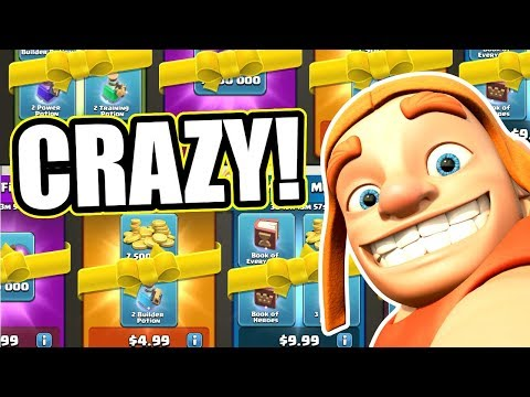 BUYING EVERY NEW PACK IN THE CLASH OF CLANS STORE! CRAZY LOOT!