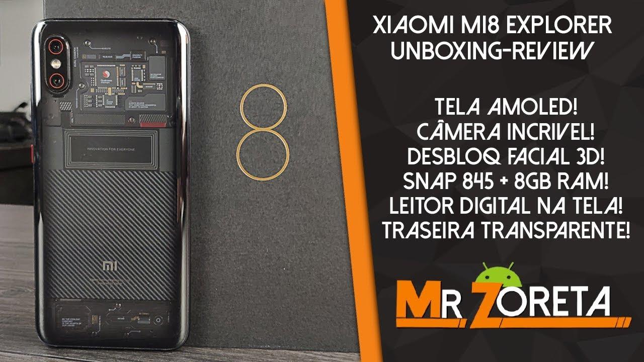 Ver Xiaomi Mi8 Explorer – O melhor celular da Xiaomi! Traseira transparente! – Unboxing-Review PT-BR en Español