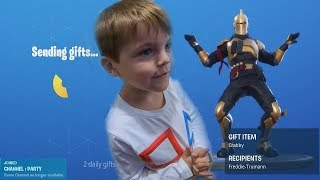TRUMAnn Giving *5 YEAR OLD KID* NEW Fortnite Skin & MORE After Completing Dancing Challenges!!