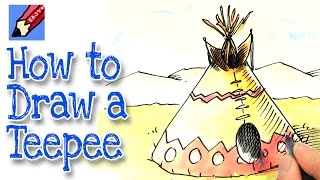 How to draw a Tipi or TeePee Real Easy