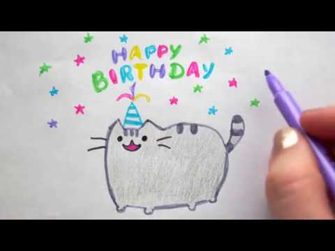 Pusheen Katze Zeichnen How To Draw A Cat Happy Birthday Drawing
