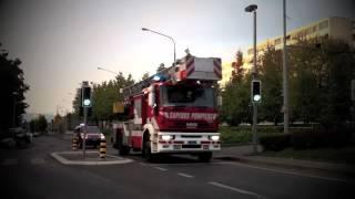 Pompiers Genève échelle 21 et voiture 8 (27.9.2011)