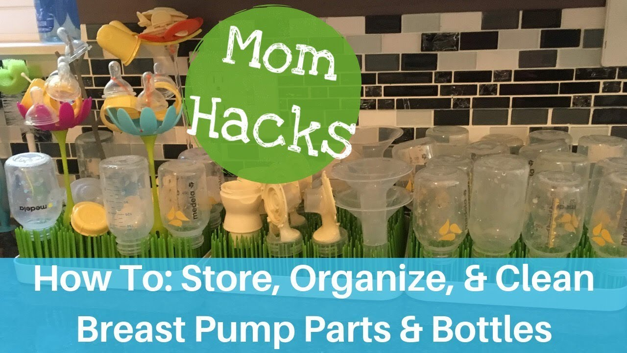 Breast Pump Parts And Bottles Storing Organizing And Cleaning