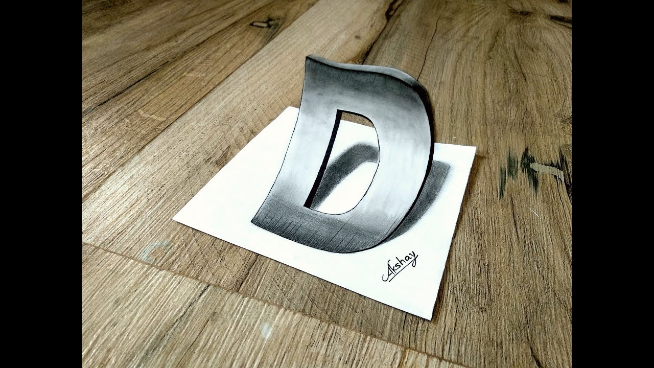 How To Draw 3D letter D - 3D letter Drawing - 3D Trick Art On Paper -Art Maker Akshay