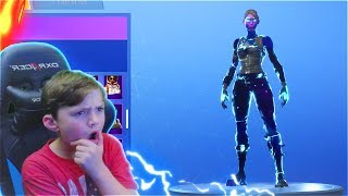 My Little Brother Reacts to the NEW FEMALE GALAXY SKIN in Fortnite Battle Royale..