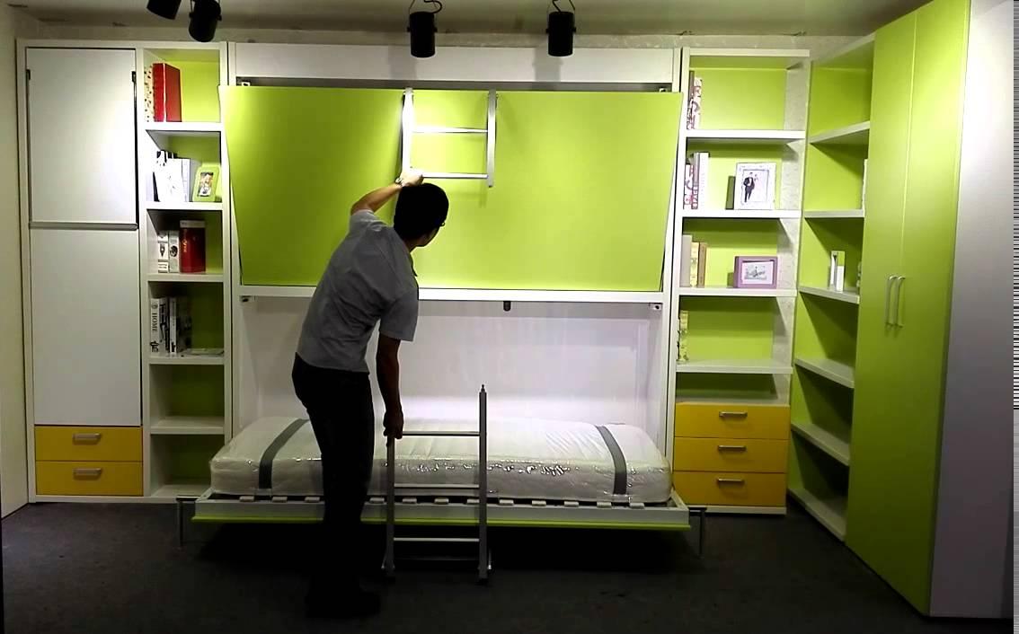 sofa bed bunk beds leather nailhead set matrix space-hidden wall murphy - youtube