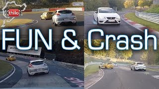 Tricky Lap - wet, slippery, traffic, oil, but FUN..until the crash - Nürburgring Nordschleife BTG