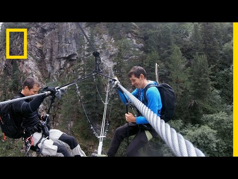 Alex Honnold Rappels Into a Ravine | Running Wild With Bear Grylls