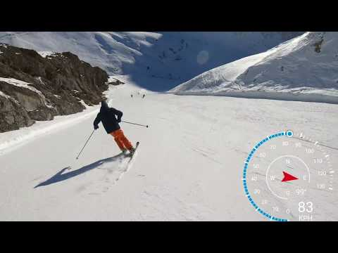 The Sarenne (Alpe dHuez 2019) in 4k skiing over 100 KPH. longest black run in Europe.