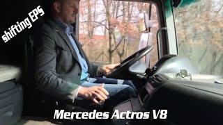 truck driving mercedes actros 1850 v8 mp2 teligent shifting lkw actros v8 mit eps schalten fahren