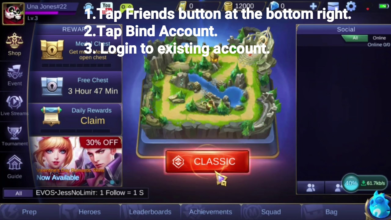 Mobile Legends Switch account trick below level 8