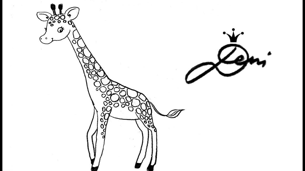 giraffe schnell zeichnen lernen f r kinder how to draw a. Black Bedroom Furniture Sets. Home Design Ideas