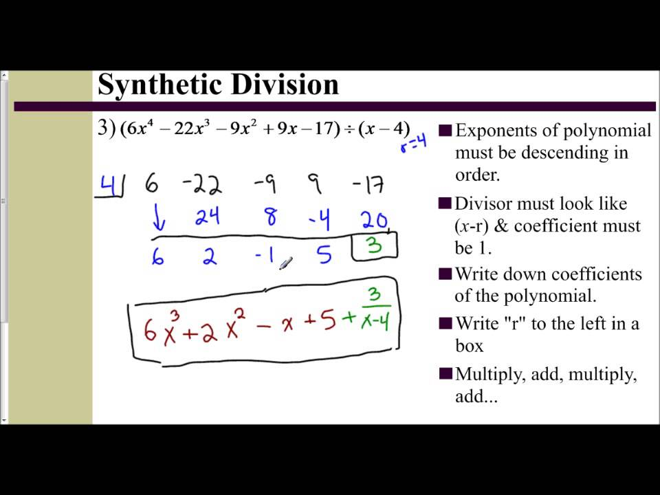 Lesson 62 Part 2 Synthetic Division With A Binomial Examples 3