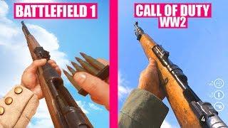 BATTLEFIELD 1 Guns Reload Animations vs Call of Duty WW2