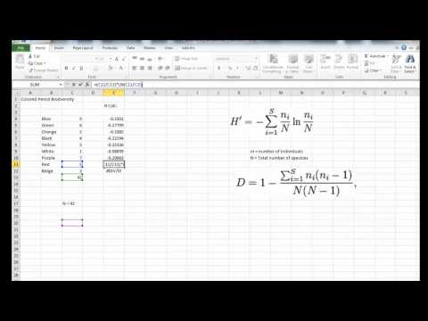 Using Excel to Calculate Biodiversity from YouTube · Duration:  10 minutes 41 seconds