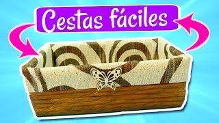 DIY CESTAS FÁCILES DE PERIÓDICO. MANUALIDADES FÁCILES