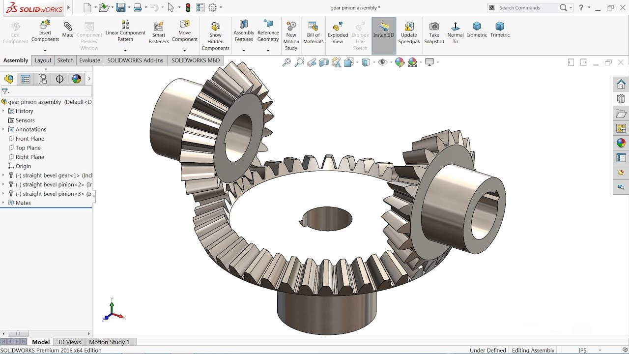 Solidworks tutorial | Bevel gear and pinion mechanism in Solidworks