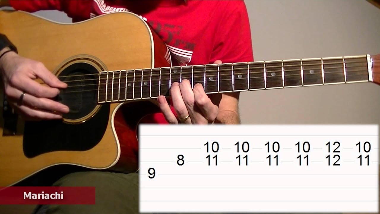 How To Play El Mariachi Acoustic Guitar Tab Lesson Tcdg Youtube