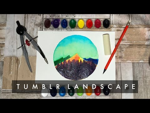 Watercolor & Acrylic Tumblr Landscape – Speed Painting [Abel Rosales]