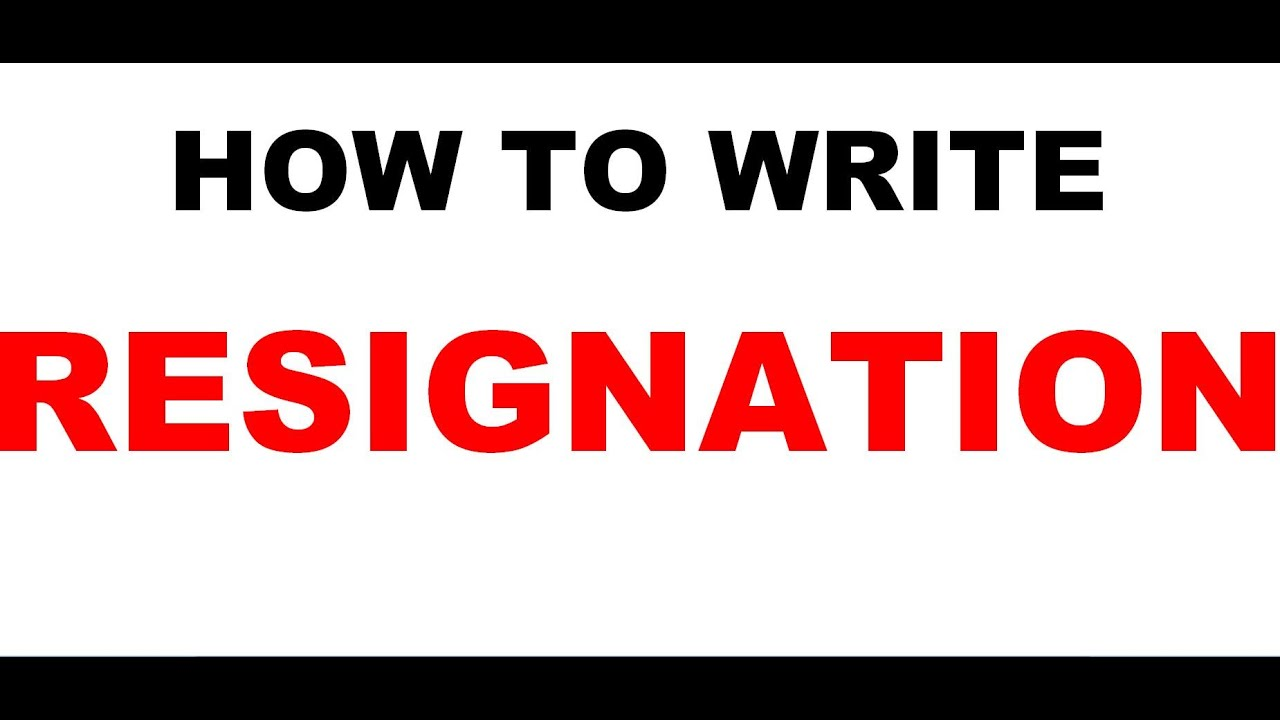Resignation Letter Video  Youtube