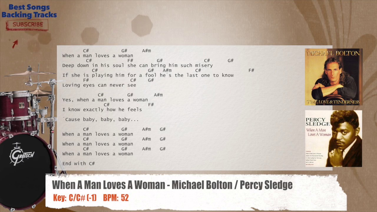 When a man loves a woman michael bolton percy sledge drums when a man loves a woman michael bolton percy sledge drums backing track with chords and lyrics hexwebz Image collections