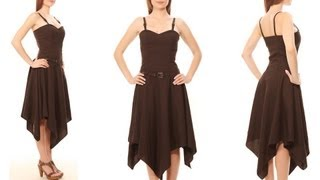 VGD-104: Vintage Goth viscose handkerchief corset dress.